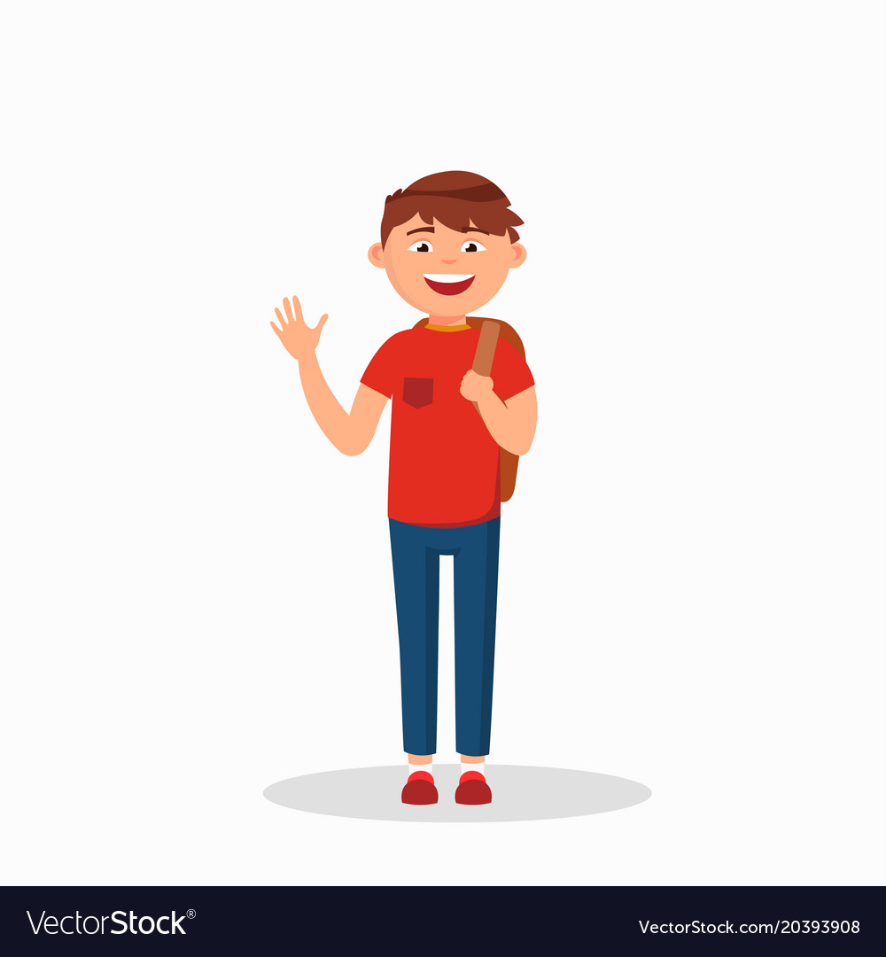 Boy is waving his hand and laughing cartoon Vector Image