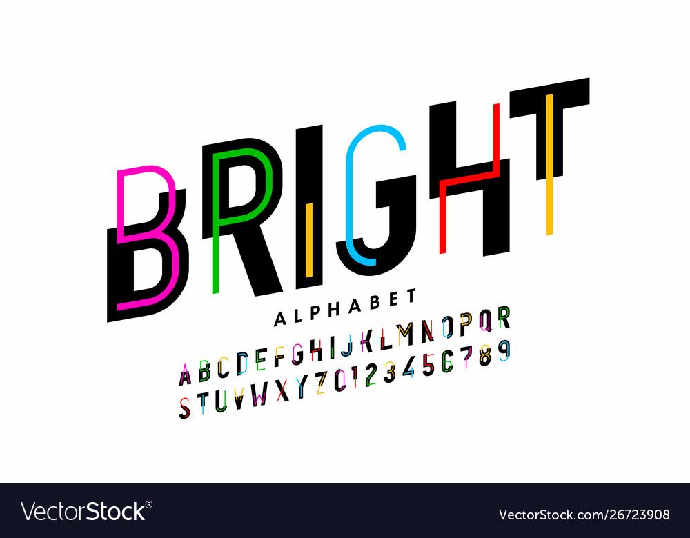 Bright colorful style font design creative