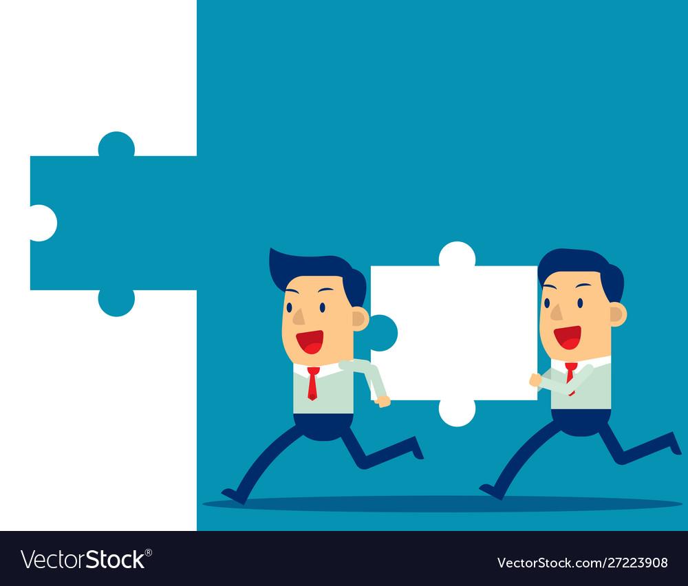 Business teamwork and jigsaw concept business
