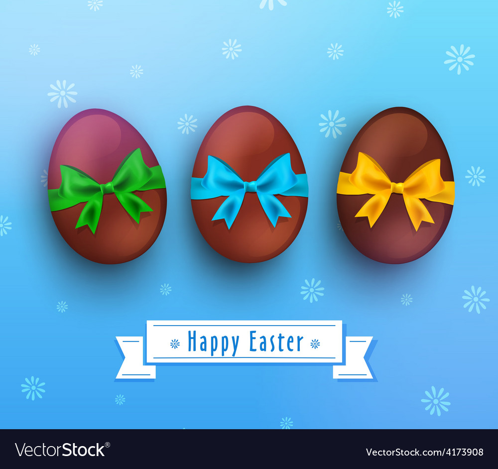 Easter chocolate egg with ribbon on blue