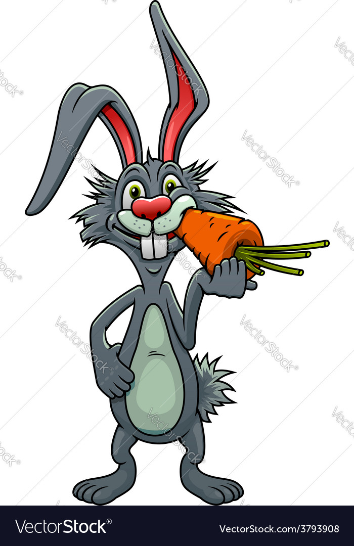 Funny Cartoon Rabbit Eating A Carrot Royalty Free Vector