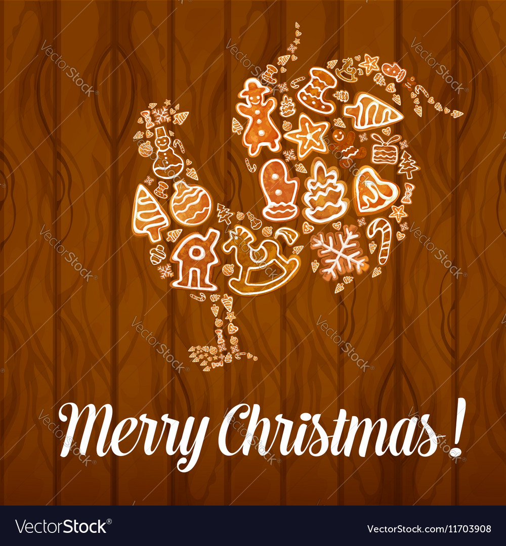 Merry Christmas Rooster Cock symbol