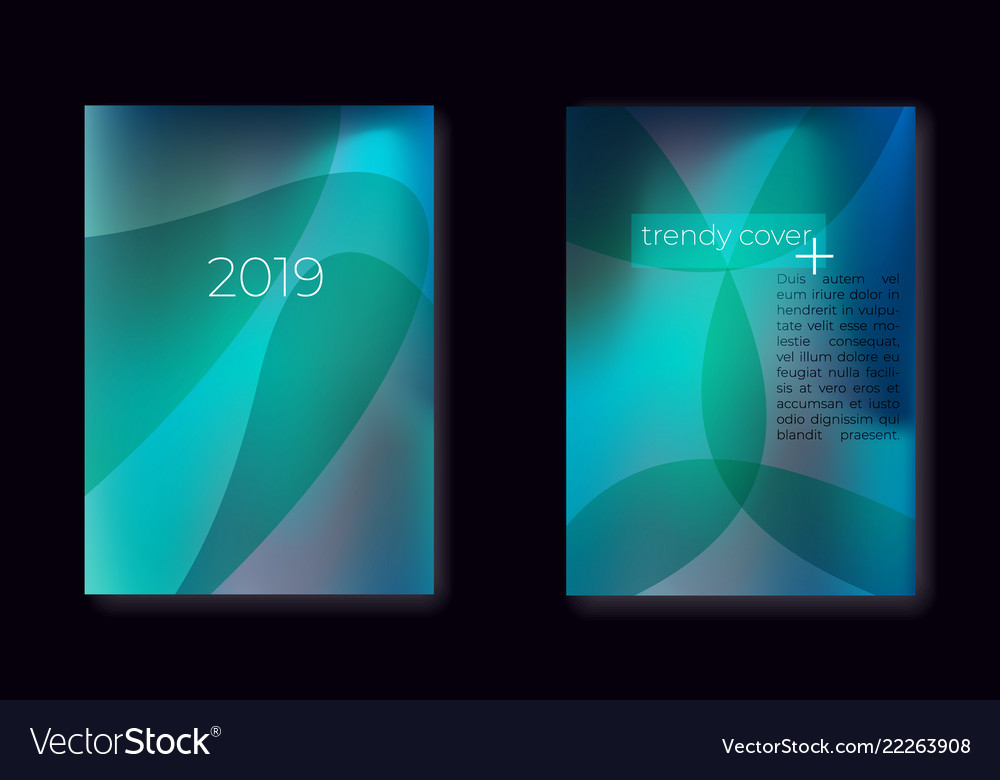 Modern gradient mesh cover set with fluid