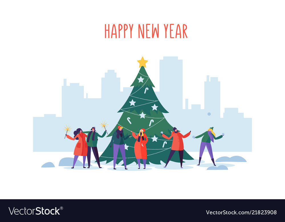 Winter holidays in city new year and christmas vector
