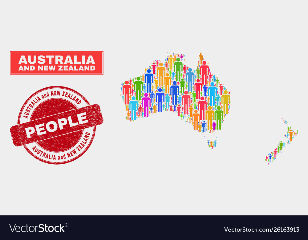 Australia and new zealand map population