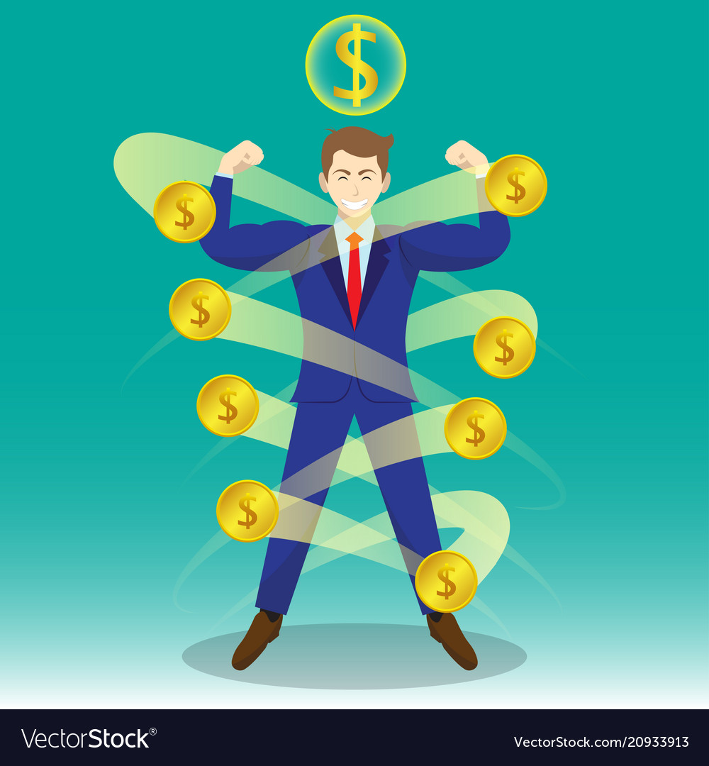Businessman surrounded by coins