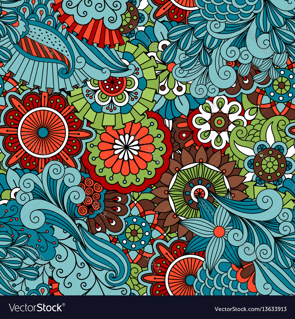 Colorful Floral Ethnic Pattern Royalty Free Vector Image