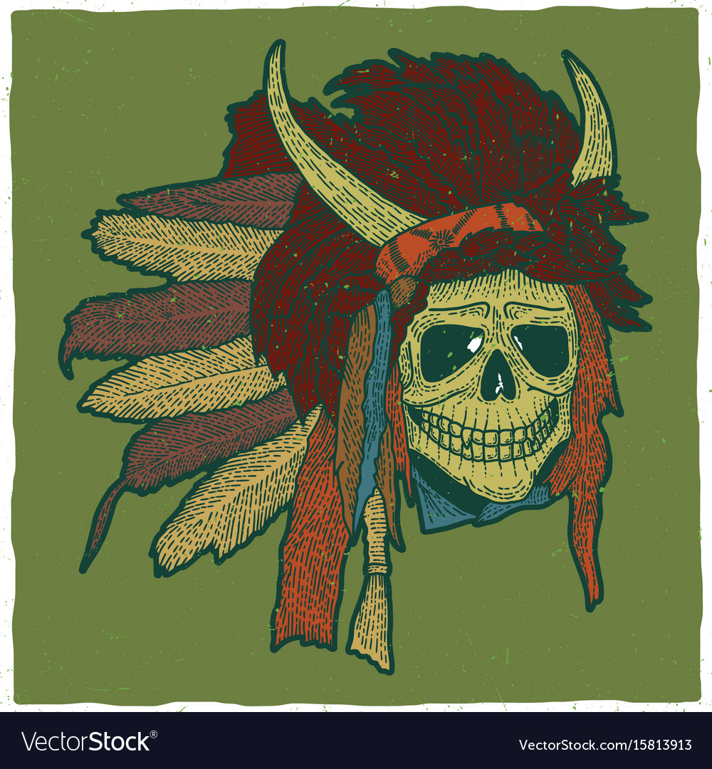 Colorful indian skull mask poster vector image