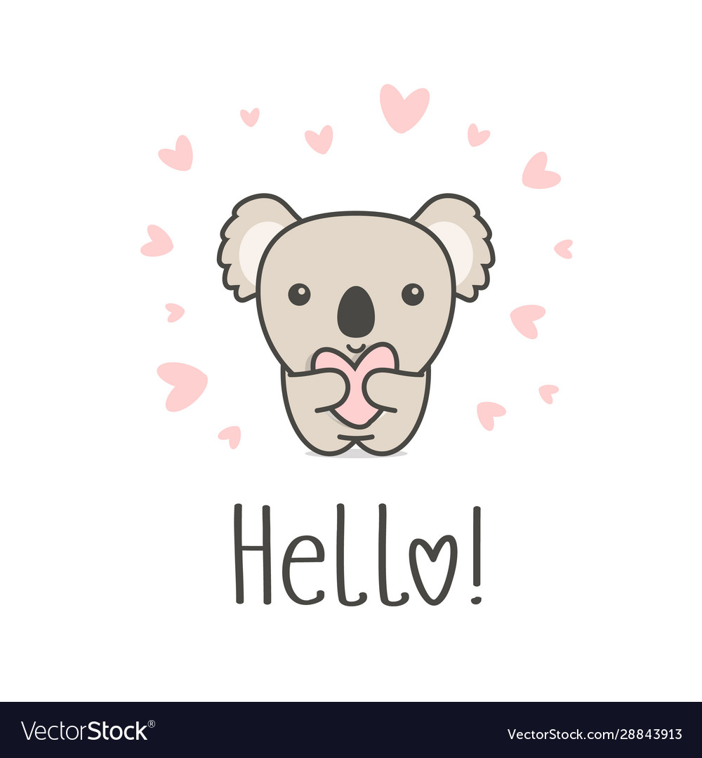 Cute animal with heart and hello text smiling