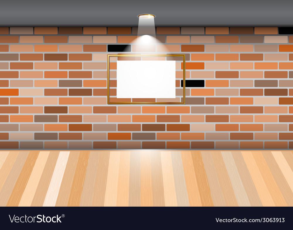 Empty room blank frame brick wall
