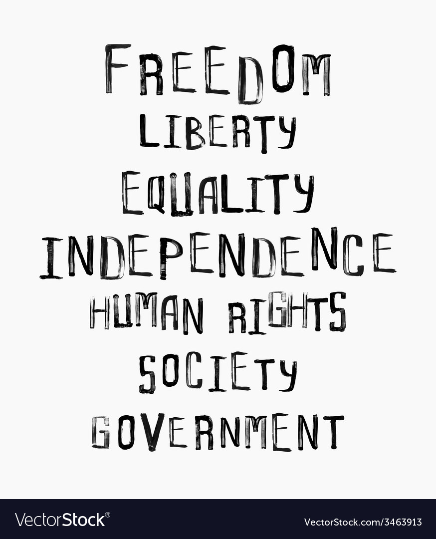 Freedom independence equality concept word cloud