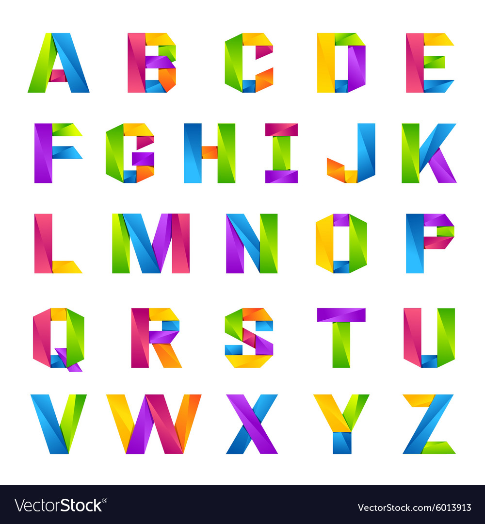 fun english alphabet one line colorful letters set