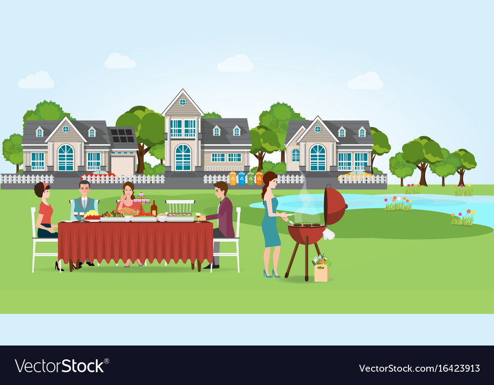 Group of people enjoying party barbecue picnic