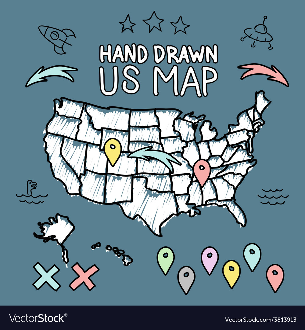 Hand drawn US map on chalkboard Royalty Free Vector Image
