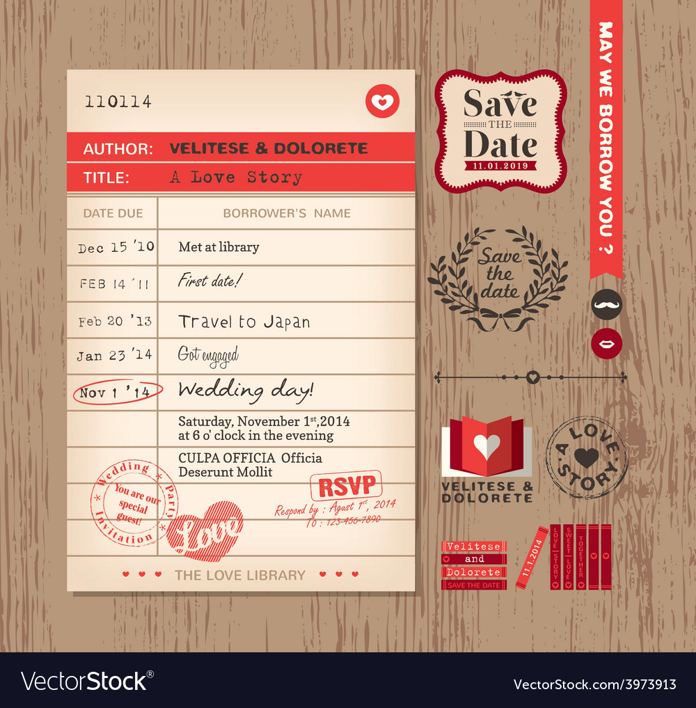 Library card creative Wedding Invitation design Vector Image