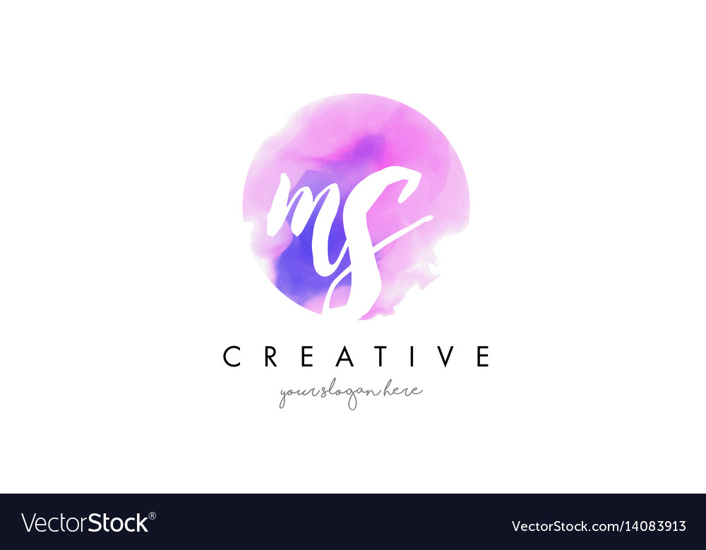 ms watercolor letter logo design with purple vector image