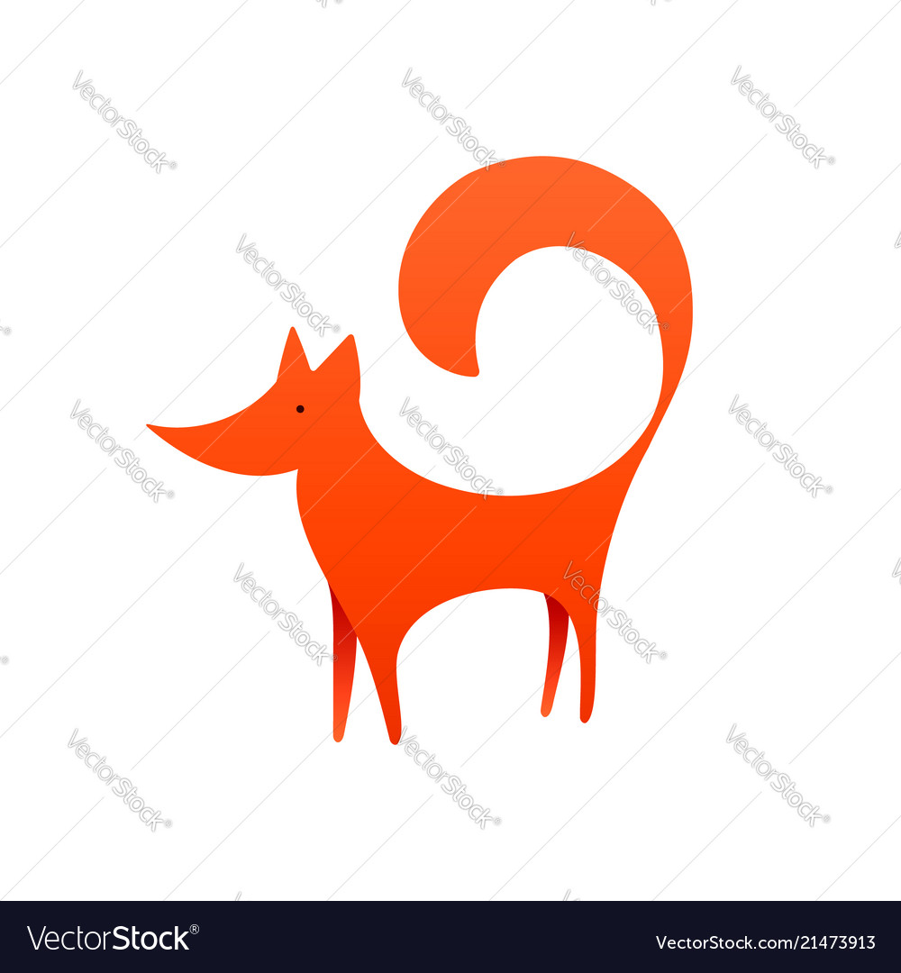 Red fox logo with negative space laconic
