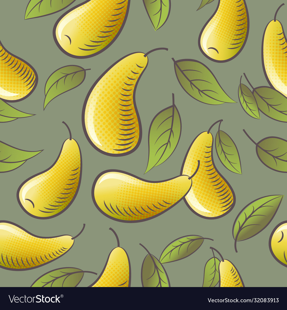 Seamless pattern yellow pears leaves packaging