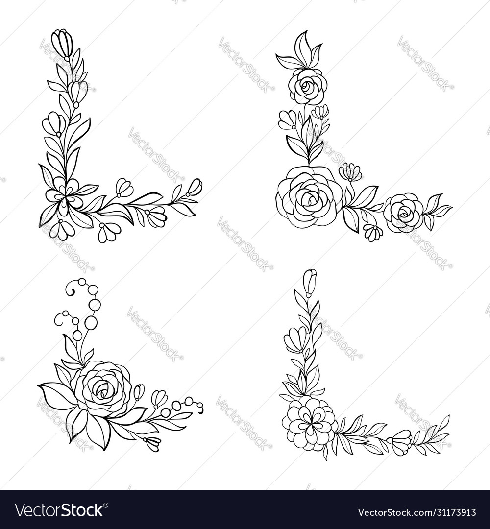 Set black and white hand drawn corner floral vector