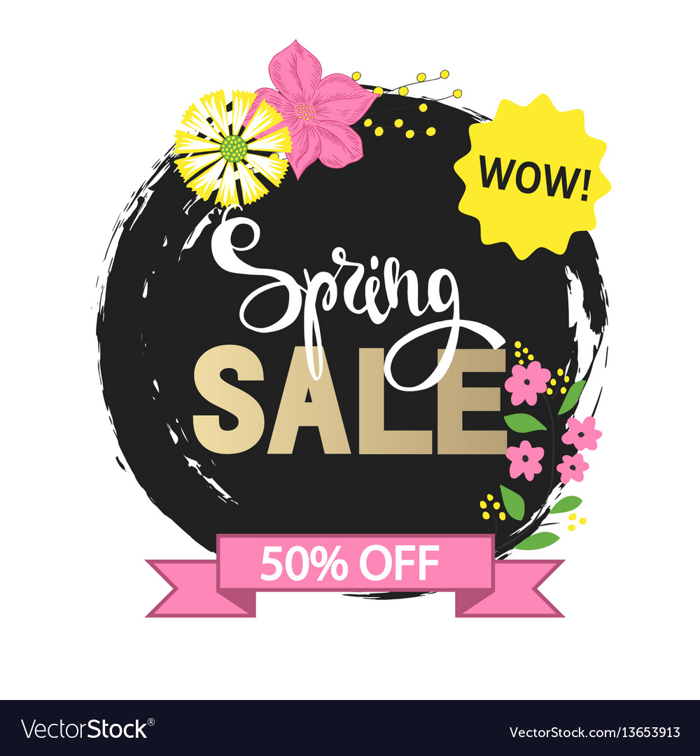 Spring sale with beautiful hand drawn flowers vector image