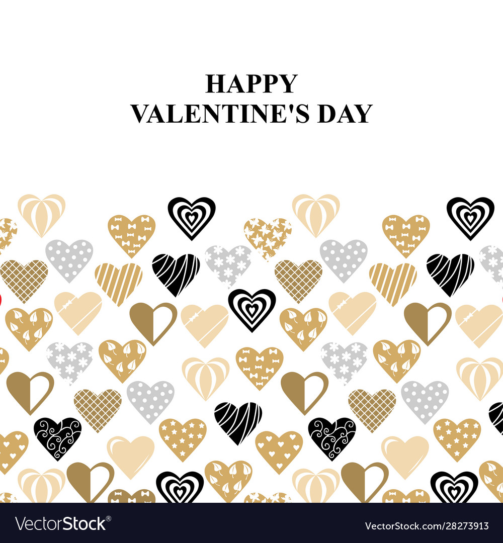 Valentines day card with decorative hearts