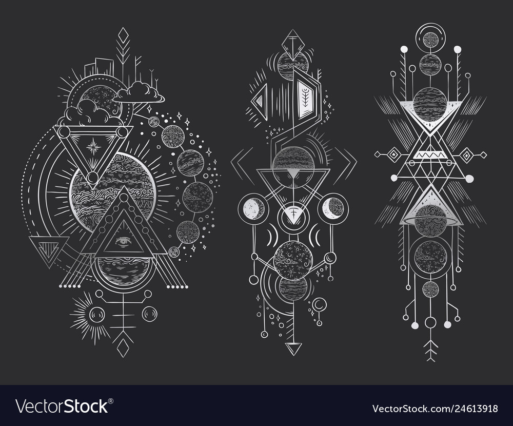 Abstract magical tattoo sacred geometric moon