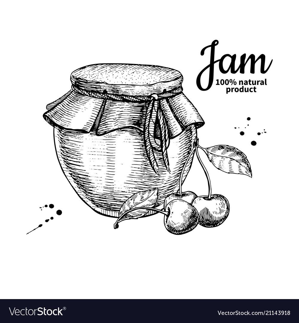 Cherry jam glass jar drawing fruit jell