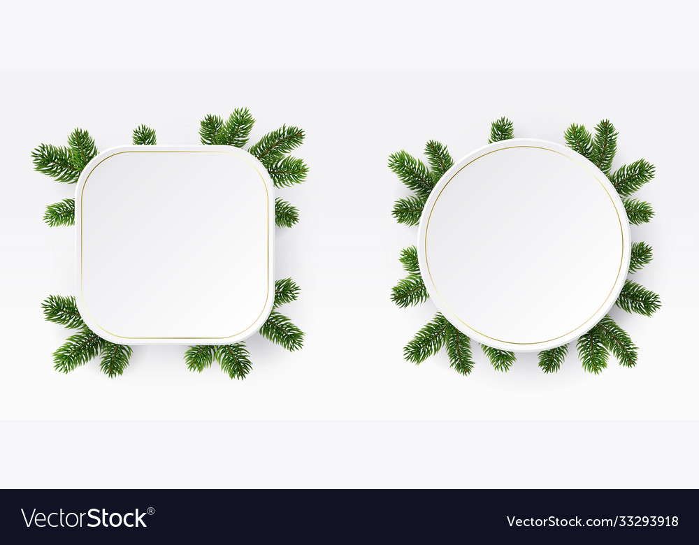 Christmas frame branches white blank