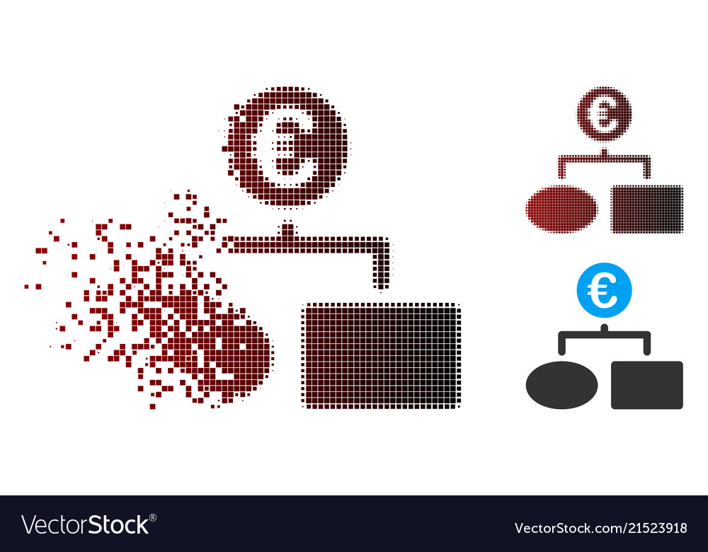 Dissolving Pixel Halftone Euro Flow Chart Icon Vector Image