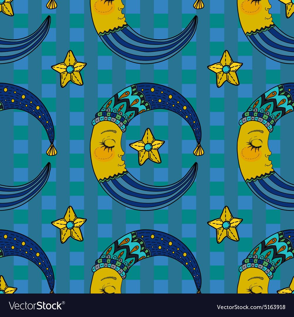 Doodle Moon seamless pattern for children design
