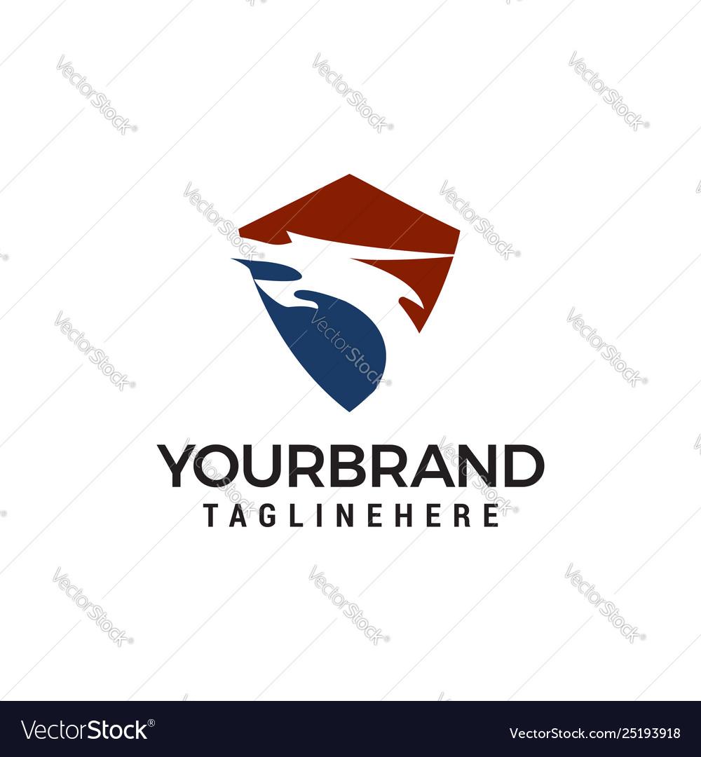 Dragon head shield logo design concept template