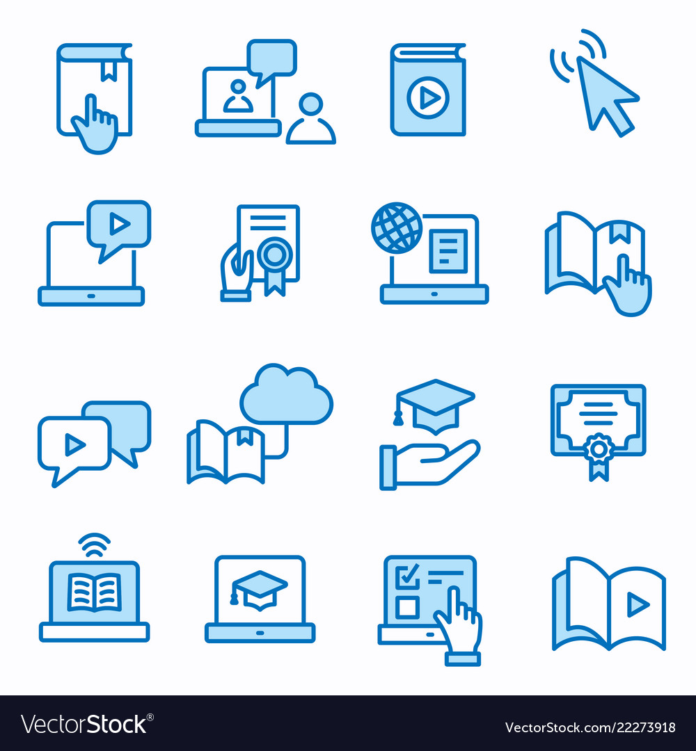 E-learning distance education icons set editable