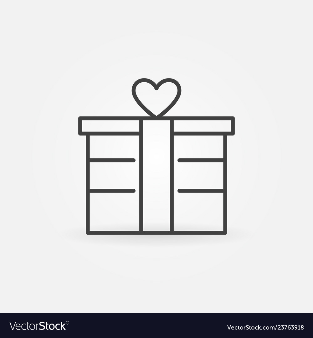 Gift box outline icon valentines day