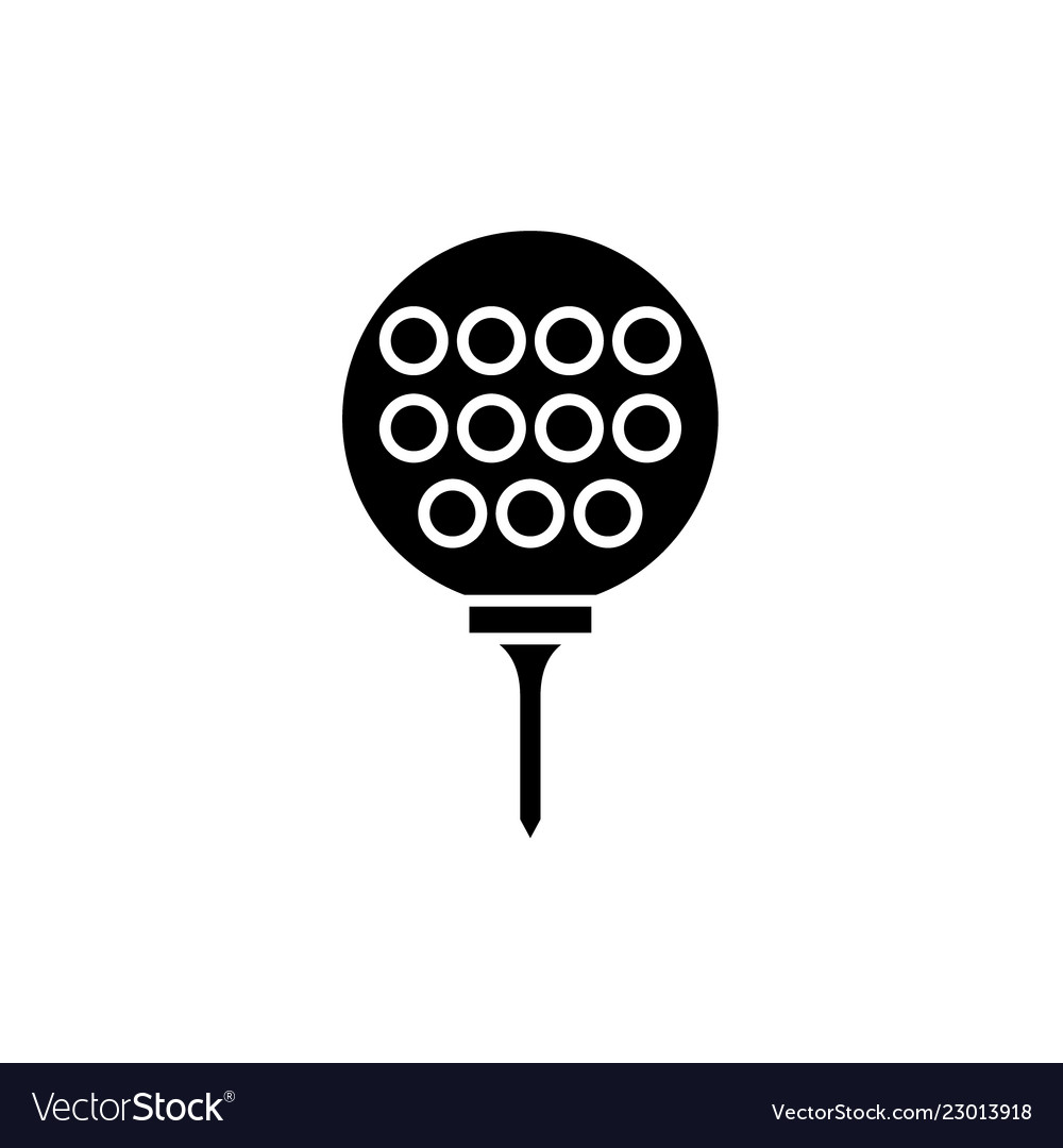 Golf ball black icon sign on isolated