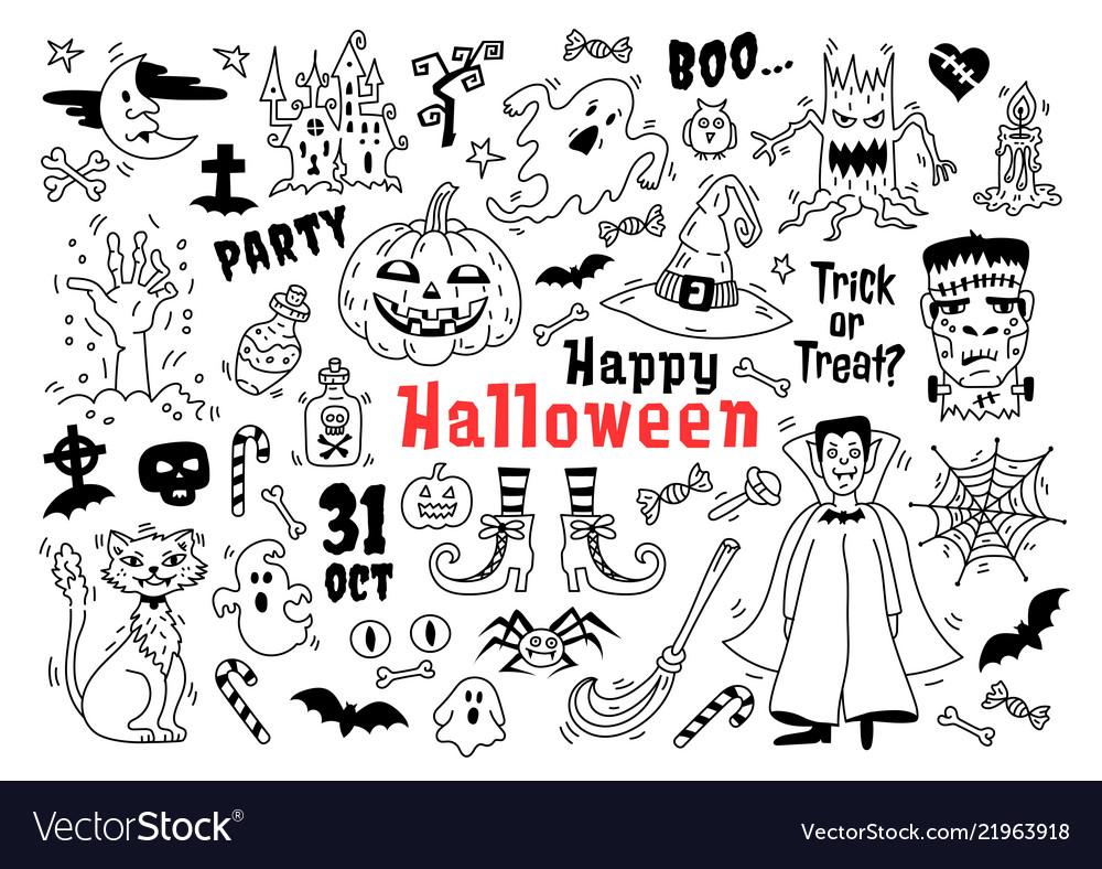 Halloween doodle icon set sketch icons