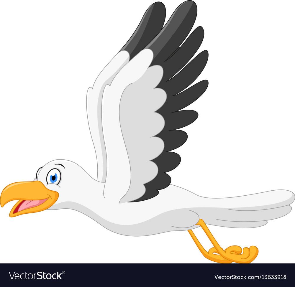 happy seagull cartoon flying royalty free vector image rh vectorstock com seagull cartoon characters seagull cartoon images