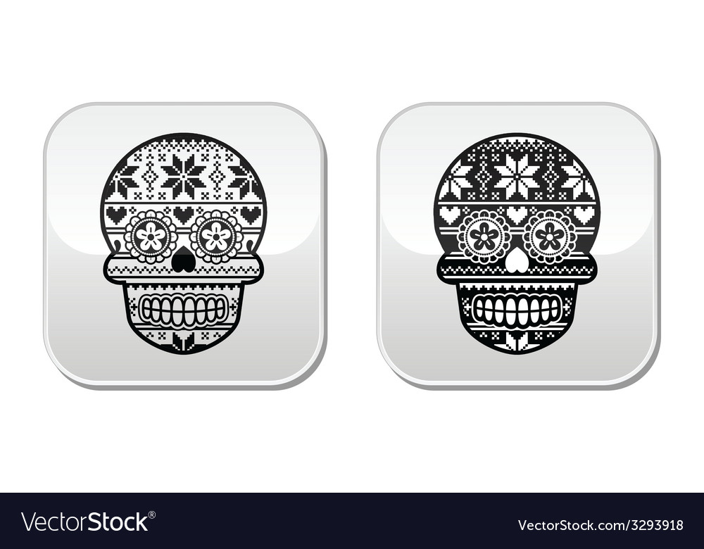 Mexican black sugar skull buttons with winter nord