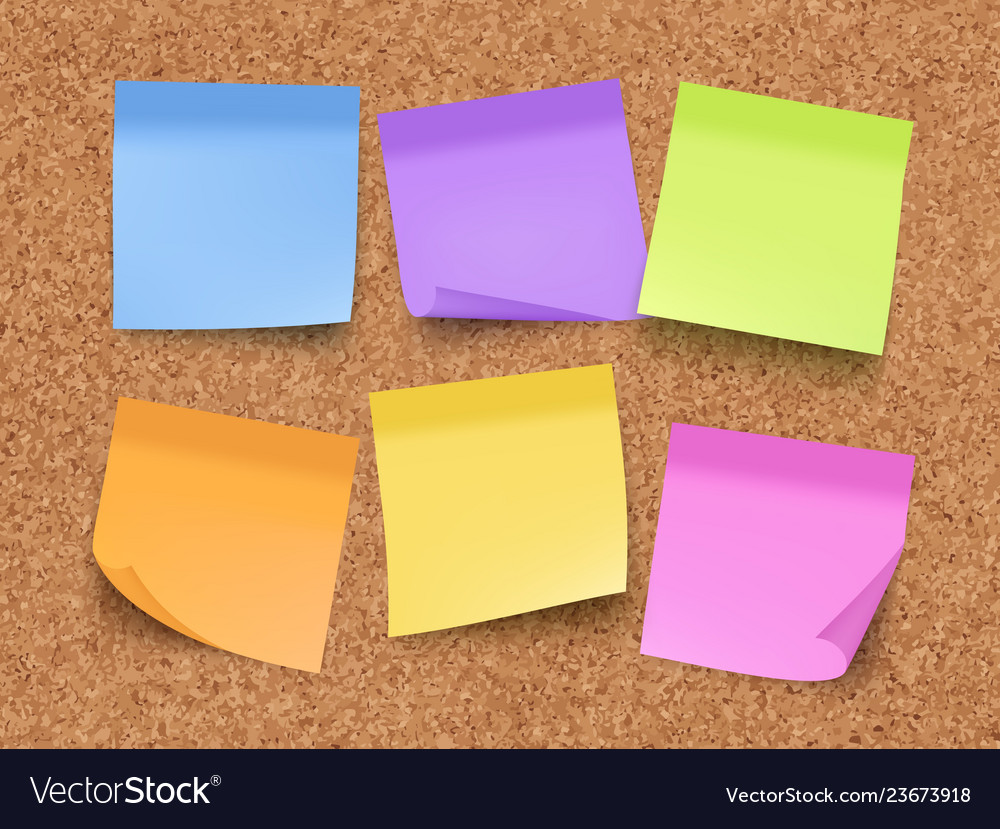 Sticky empty notes corkwood board on wall with