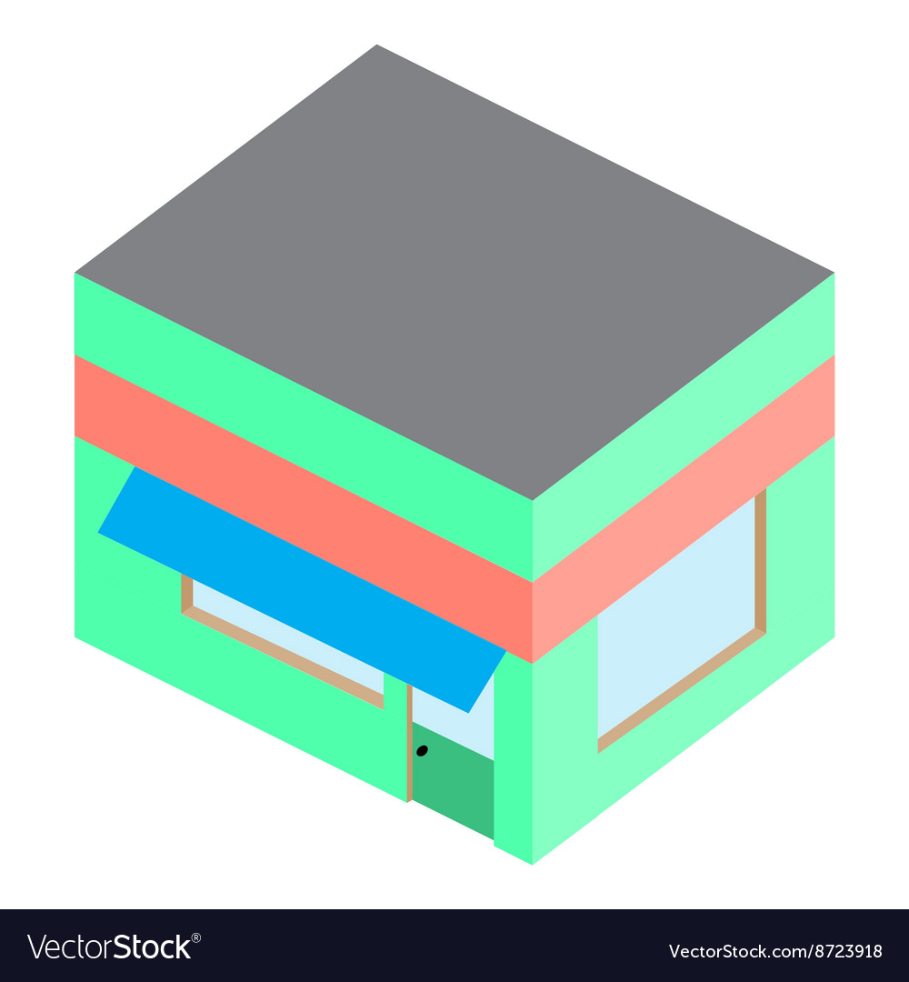 Template isometric building home shop house