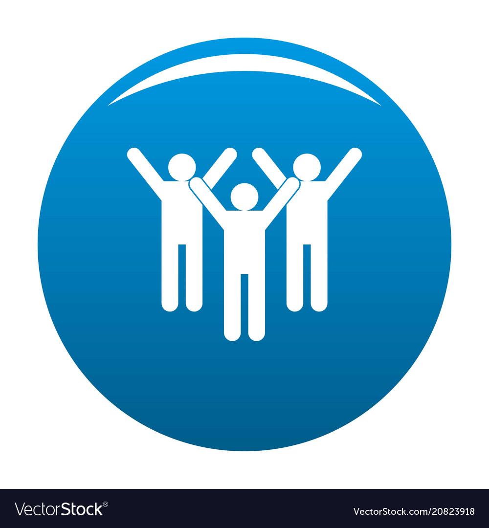 Winning teamwork icon blue