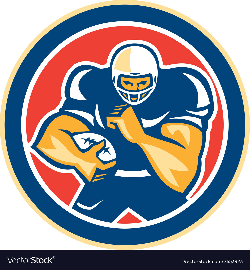 American Football Player Fend Off Circle Retro