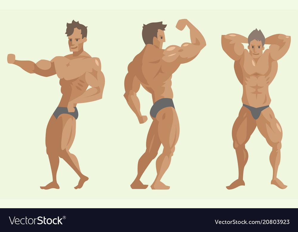 Bodybuilder sportsman characters muscular
