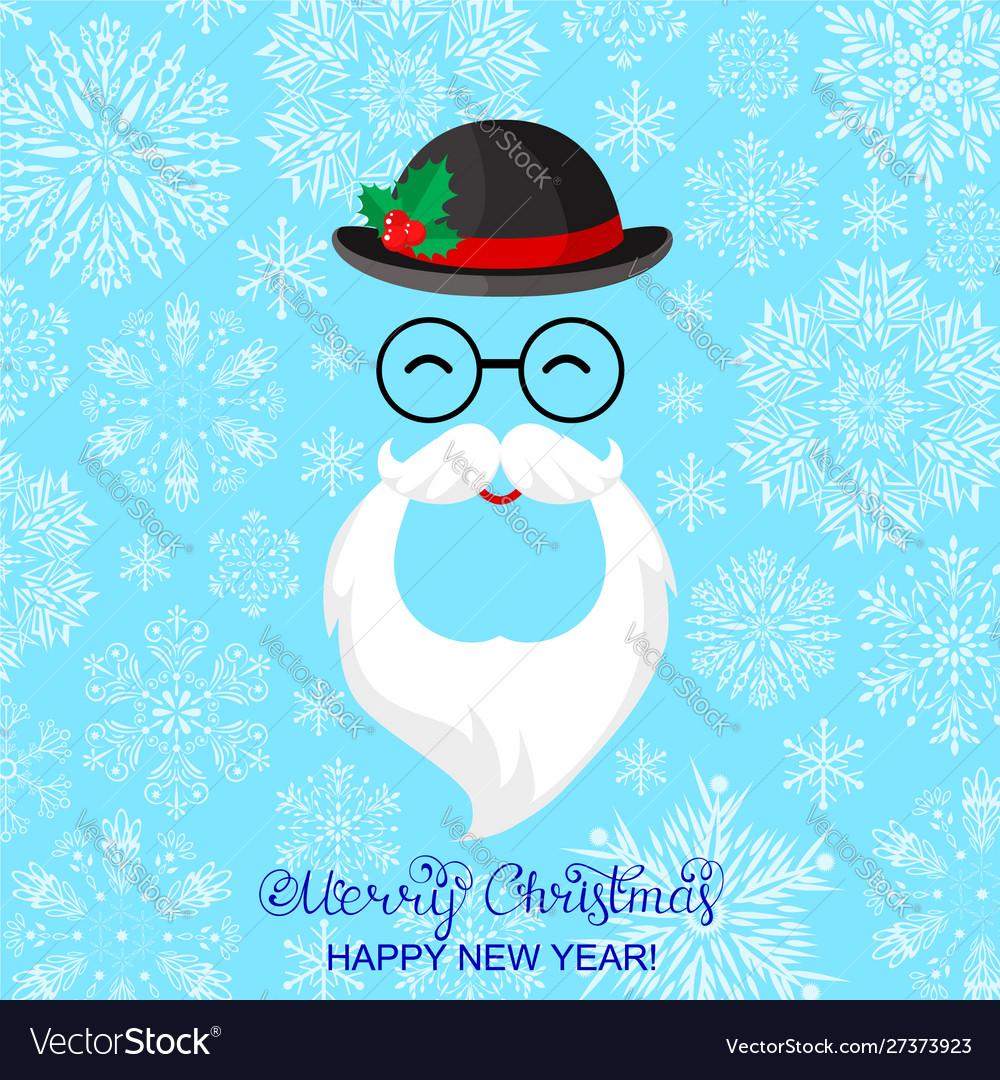 Card with santa and snowflakes