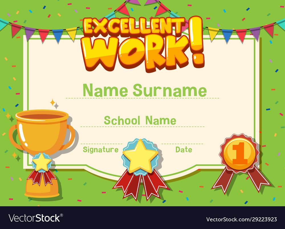 Certificate Template For Excellent Work Royalty Free Vector