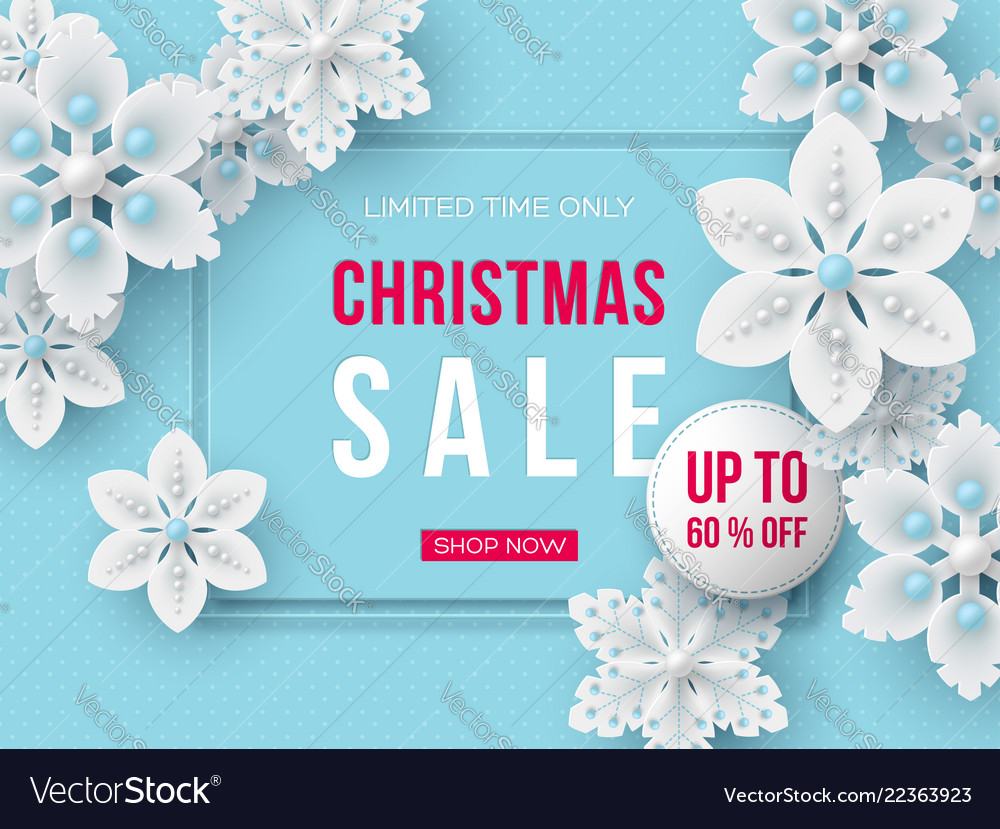 Christmas sale banner with decorative snowflakes
