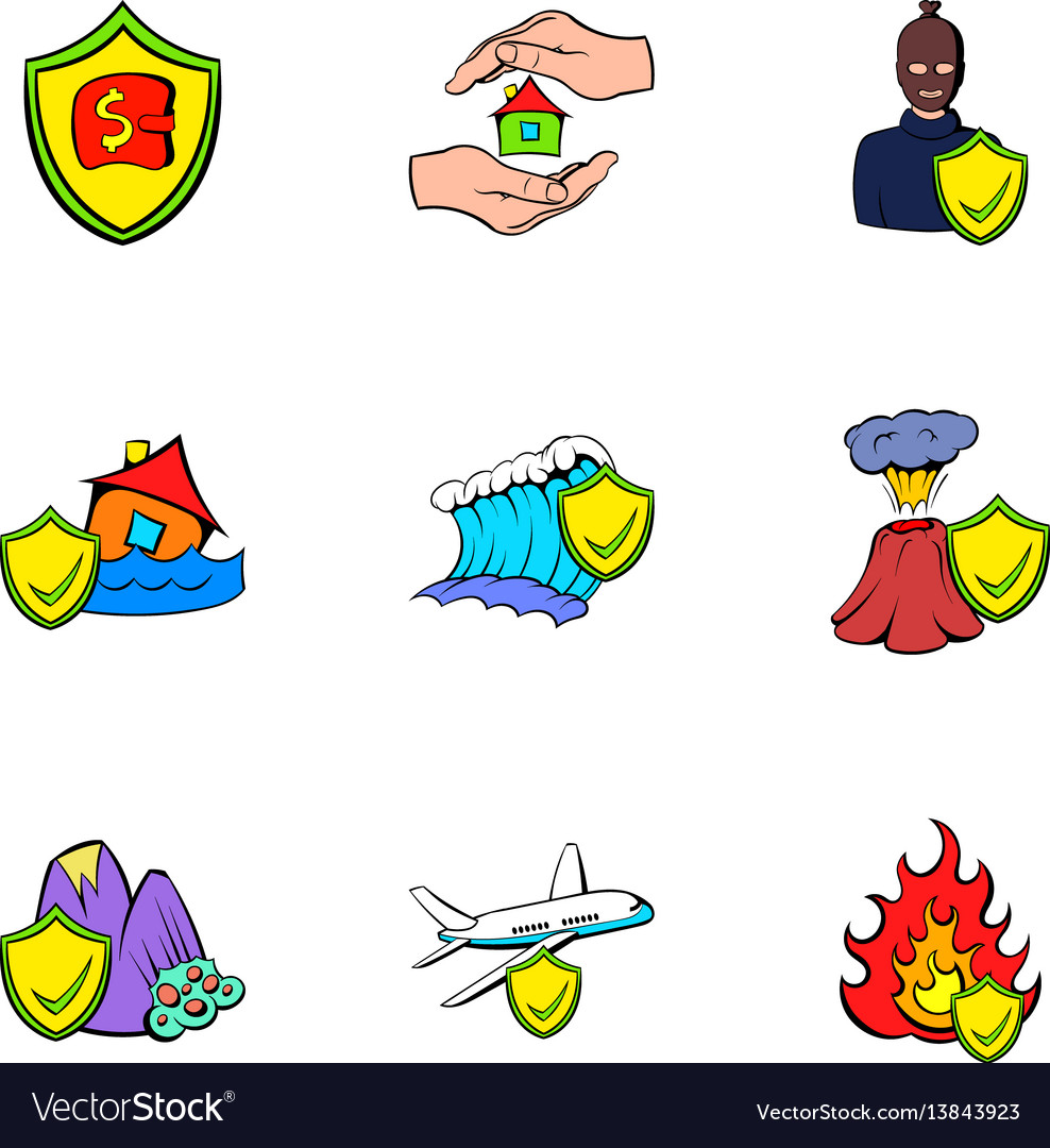 Compensation icons set cartoon style