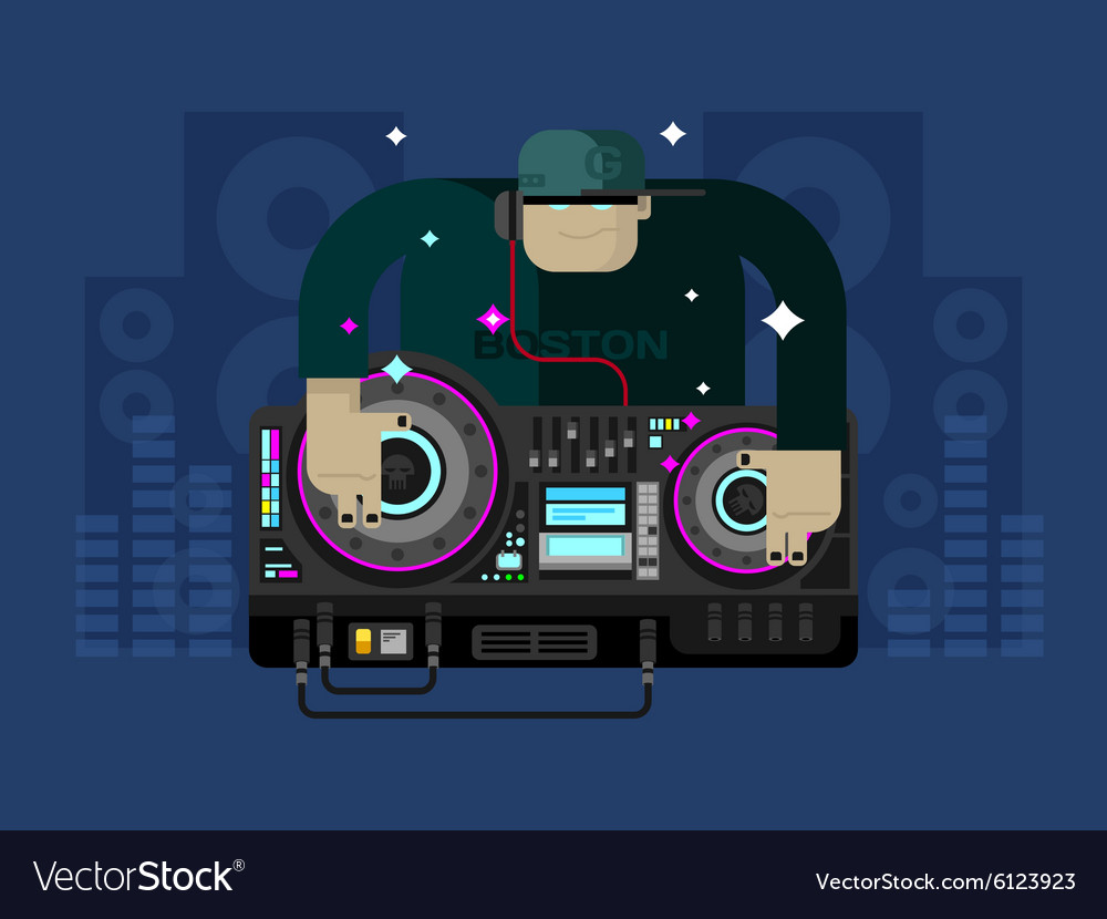 DJ character music vector image