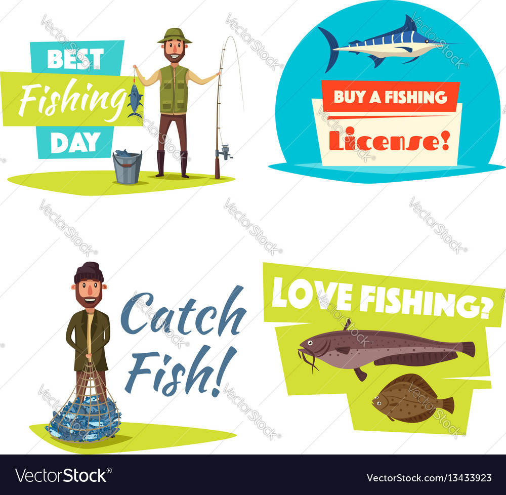 Fishing sport and hobby cartoon icon set design