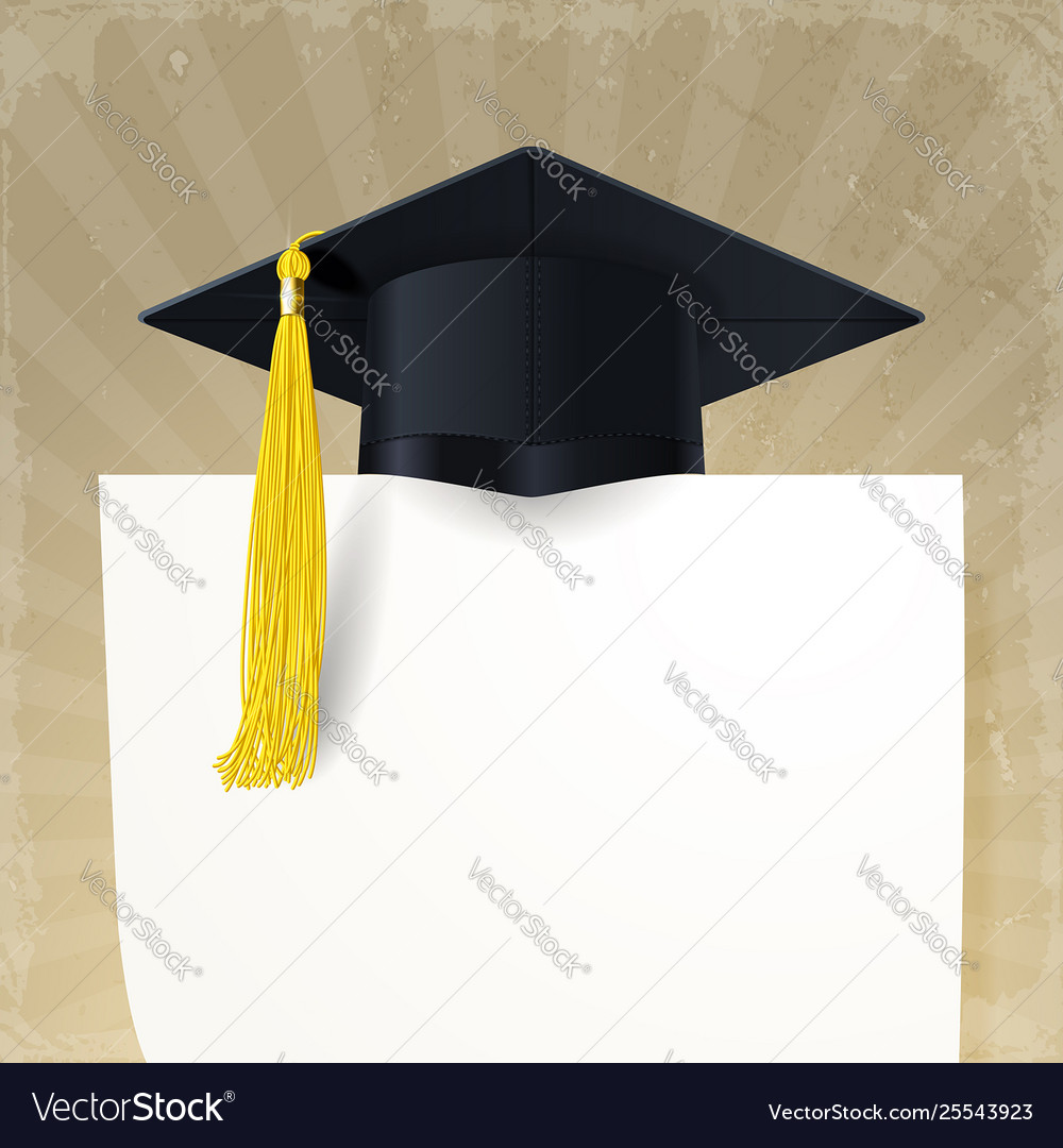 Graduate cap with a gold tassel and diploma