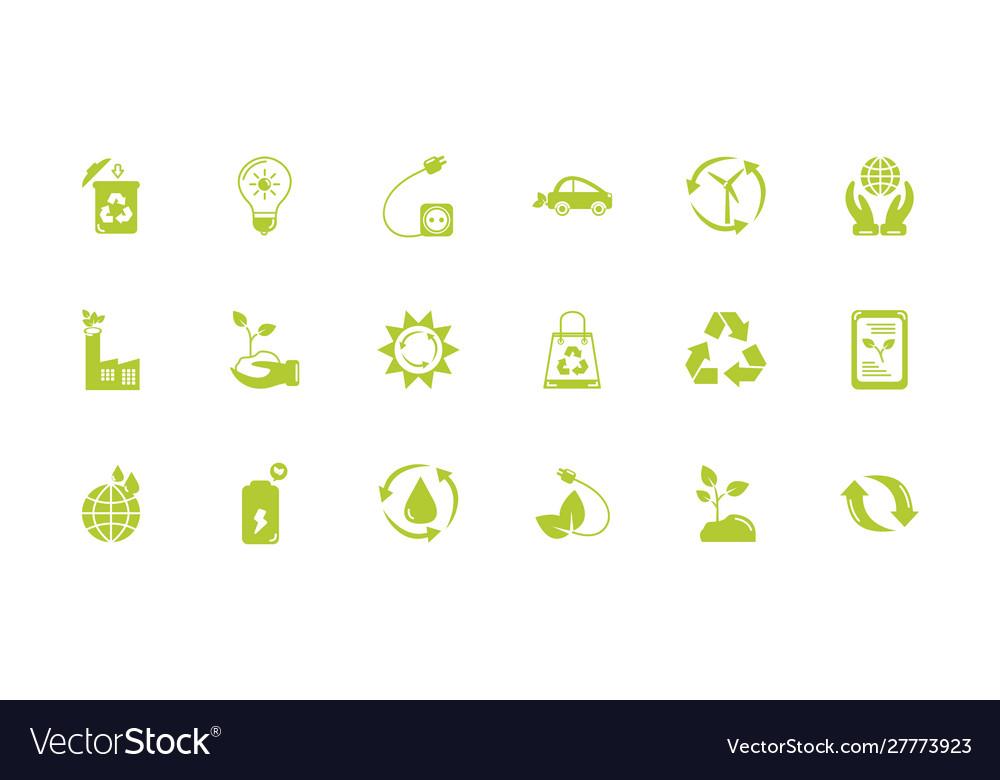 Green energy environment icons set flat style